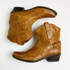 Franco Sarto Waco Tan Leather Cowboy Booties 6M